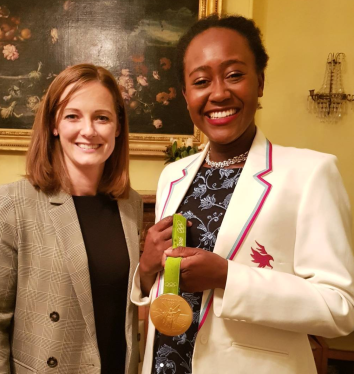 Ospreys Committee member Emmaline Okafor with guest speaker Helen Richardson-Walsh and her Olympic Gold Medal