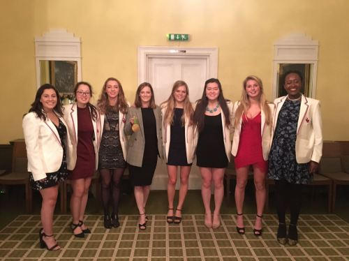The Ospreys' committee 2017-18 with GB hockey player and Olympic Gold Medalist Helen Richardson-Walsh at the 2017 Michaelmas Speaker's Dinner. From left to right: Rhianna Miller, Emily Coales, Georgina Shepherd, (Helen Richardson-Walsh), Lizzie Withers, Claudia Feng, Blythe Burkhart and Emmaline Okafor