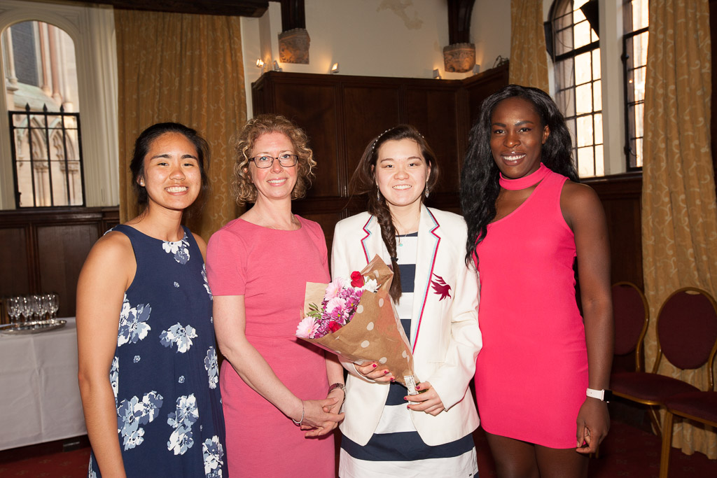 Dr Pat Marsh, Connie Hsueh (Churchill, Waterpolo), Nicole Sapstead (the speaker UKAD) Claudia Feng (Trinity, Waterpolo, Swimming), Maxine Meju (Fitzwilliam, Rugby, Athletics) at the reception for the Speakers Dinner arranged by the Osprey's