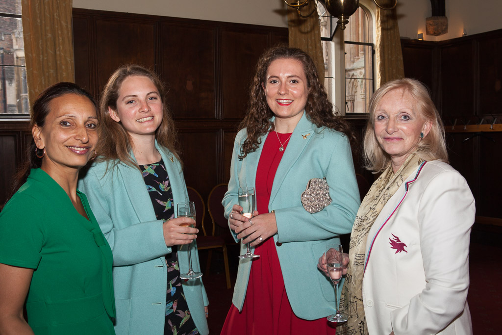 Roshni Becker , Katie Gibson (Pembroke, Cricket), Holly Tasker (Caius, Cricket) at the reception for the Speakers Dinner arranged by the Osprey's , Katie Gibson (Pembroke, Cricket), Holly Tasker (Caius, Cricket) and Dr Pat Marsh at the reception for the S